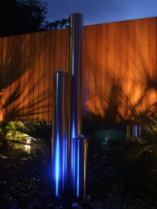 Stainless waterfeature at night