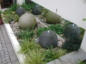 Granite balls and glass