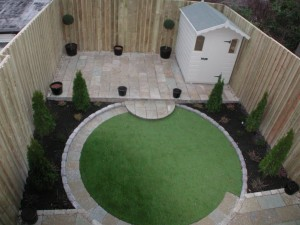 Aerial view of landscaped back garden