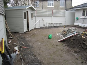 Plastered walls, posts and wall extension