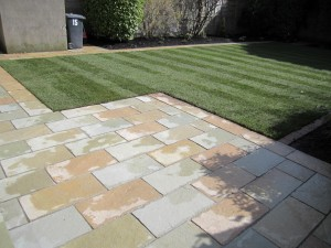 Limestone patio and new lawn