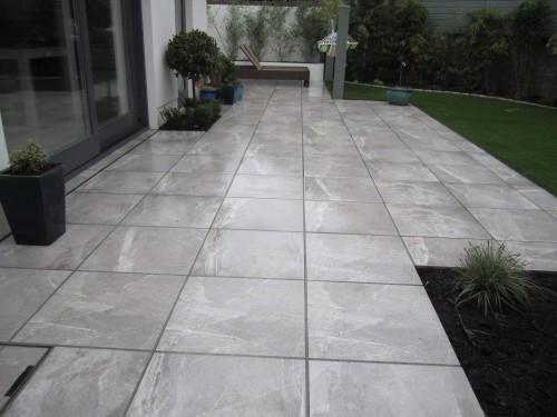 Polished limestone patio