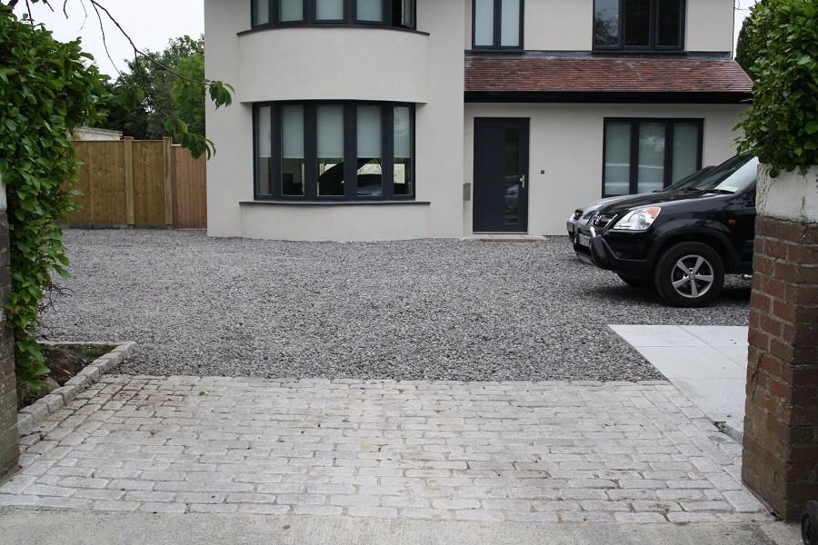 Pea gravel driveway