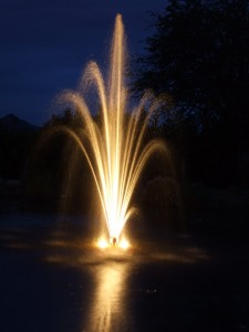 Outdoor Garden Lighting with a Fountain