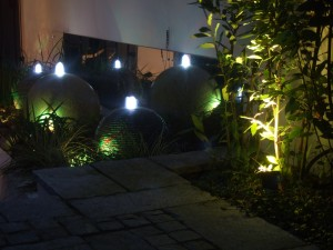 Waterfeature at night