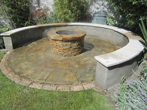 fire pit and semi circular seat