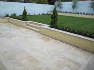 Travertine patio and steps