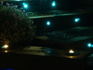 Shankill, Dublin, Ireland - garden with outdoor garden lighting at night time