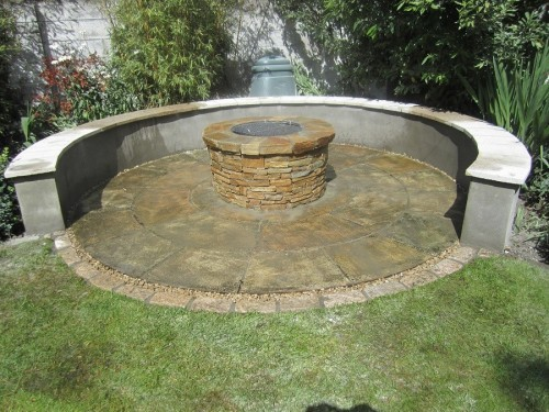 fire pit with indian sandstone circle